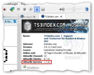 TeamSpeak 3 Serverinformation: Aktuelle Queries